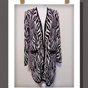 Zebra Print Open Cardigan